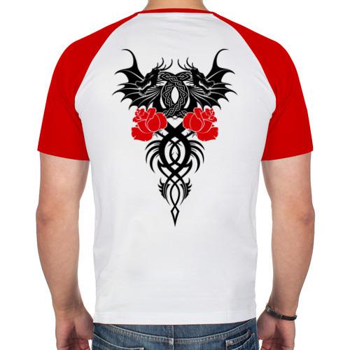 Мужская футболка реглан  Фото 02, Двуглавый дракон с розами