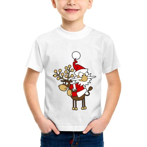 Детская футболка синтетическая Санта на олене. от Всемайки