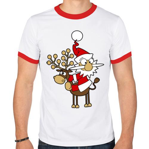 Мужская футболка рингер  Фото 01, Санта на олене.