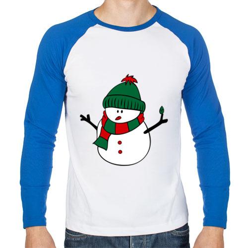 Мужская футболка реглан с длинным рукавом Снеговик от Всемайки