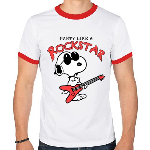 Мужская футболка рингер  Фото 01, Snoopy Rockstar