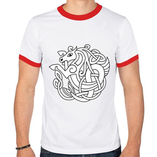 Мужская футболка рингер  Фото 01, Лошадь - кельтский узор