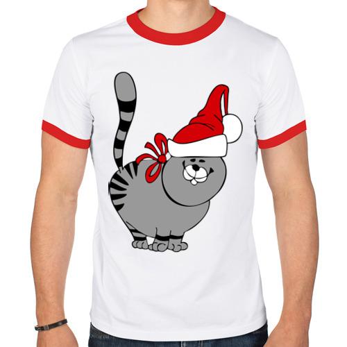 Мужская футболка рингер  Фото 01, Кот в шапке