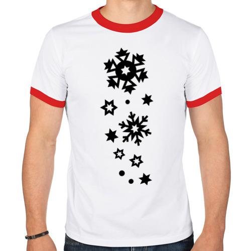 Мужская футболка рингер  Фото 01, Снежинки
