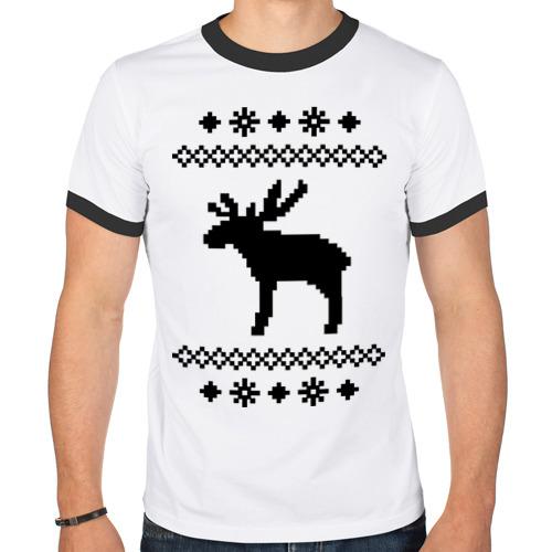 Мужская футболка рингер  Фото 01, Свитер с оленем