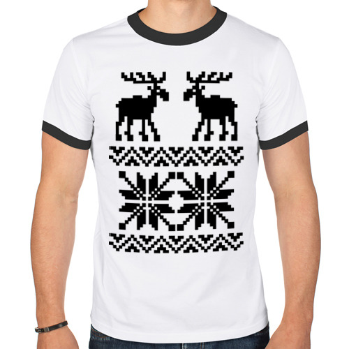 Мужская футболка рингер  Фото 01, Свитер с оленями