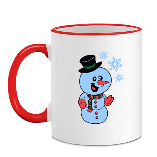 Кружка с кантом Снеговик и снежинки от Всемайки