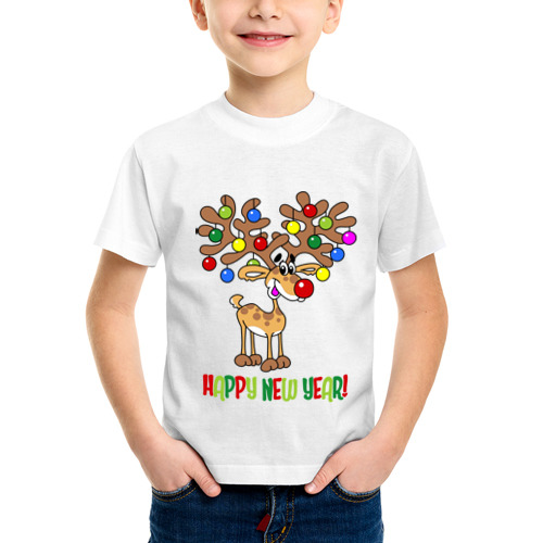 Детская футболка синтетическая Олень с шариками