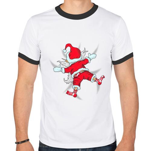 Мужская футболка рингер Санта Клаус от Всемайки