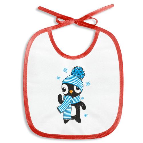 Слюнявчик  Фото 01, Пингвин в шапке с помпоном