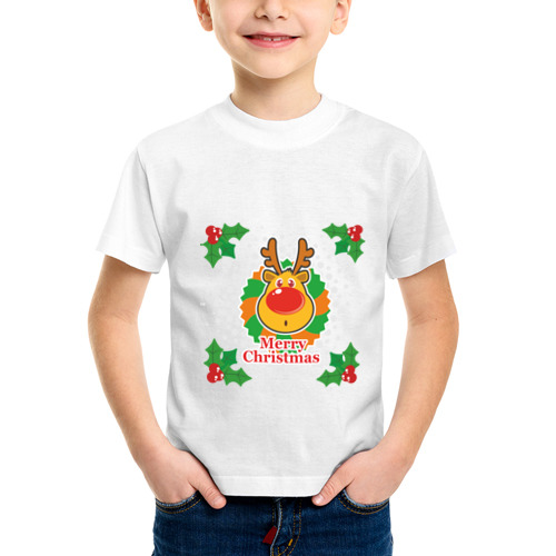 Детская футболка синтетическая Merry Christmas (С Рождеством) от Всемайки