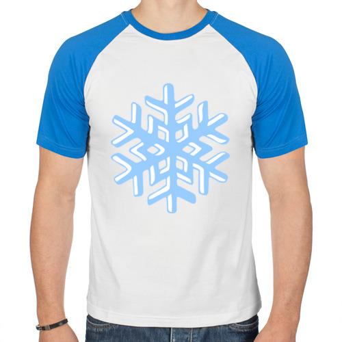 Мужская футболка реглан Объемная снежинка от Всемайки