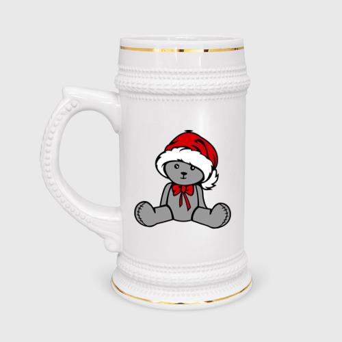 Кружка пивная  Фото 01, Мишка в новогодней шапке