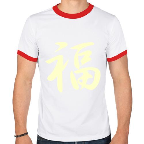 Мужская футболка рингер  Фото 01, Иероглиф удача glow