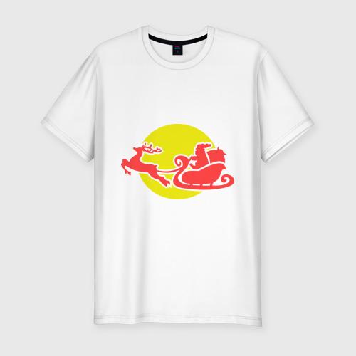 Мужская футболка премиум  Фото 01, Санта класус летит с подарками