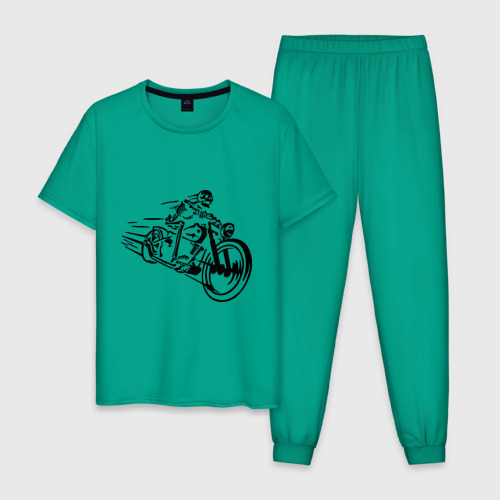 Мужская пижама хлопок Скелет на мотоцикле Фото 01