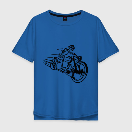 Мужская футболка хлопок Oversize Скелет на мотоцикле Фото 01