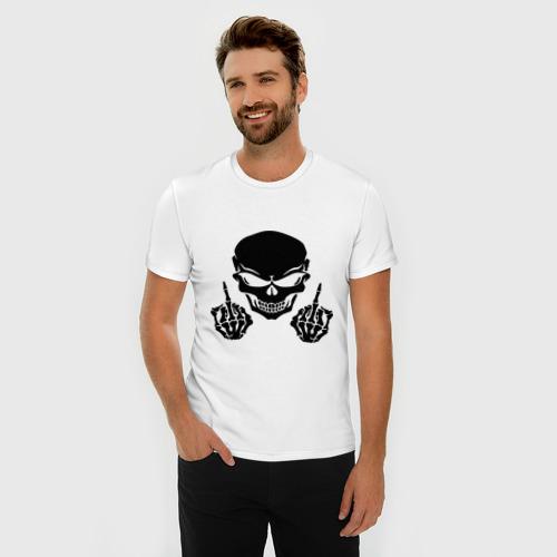 Мужская футболка премиум  Фото 03, Скелет бунтарь