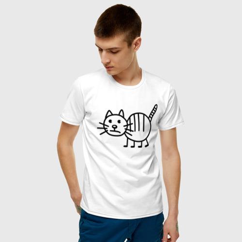 Мужская футболка хлопок Рисунок кота Фото 01