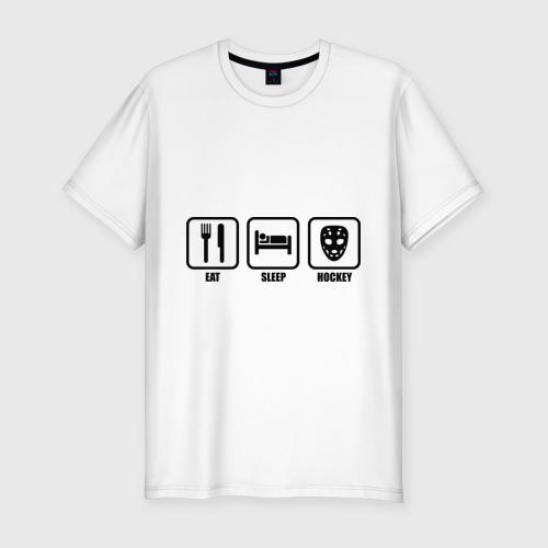 Мужская футболка премиум  Фото 01, Eat Sleep Hockey (Еда, Сон, Хоккей)