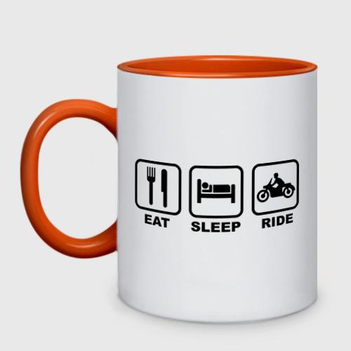 Кружка двухцветная Eat Sleep Ride Фото 01