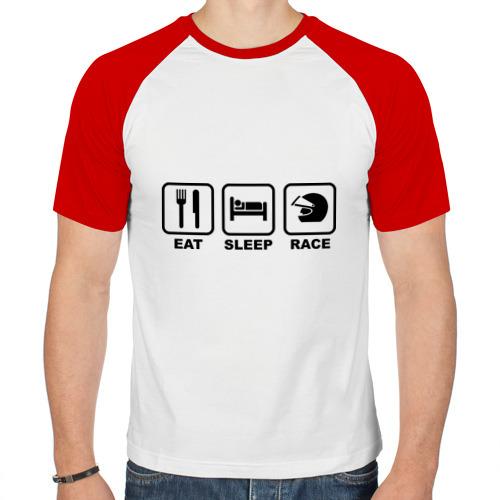 Мужская футболка реглан  Фото 01, Eat Sleep Race (Ешь, Спи, Гоняй)