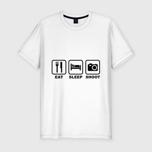 Мужская футболка премиум  Фото 01, Eat Sleep Shoot (Ешь, Спи, Фотографируй)