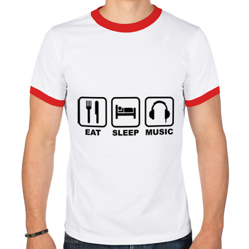 Мужская футболка рингер  Фото 01, Eat Sleep Music (Еда, Сон, Музыка)