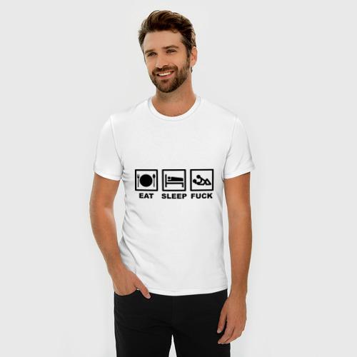 Мужская футболка премиум  Фото 03, Eat sleep fuck