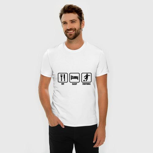 Мужская футболка премиум  Фото 03, Eat Sleep Football (Еда, Сон, Футбол)