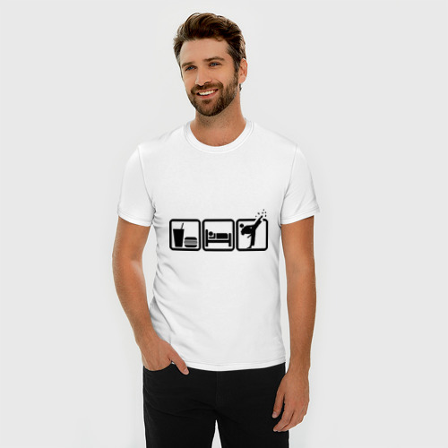 Мужская футболка премиум  Фото 03, Eat Sleep Fight (Ешь, спи, бейся)