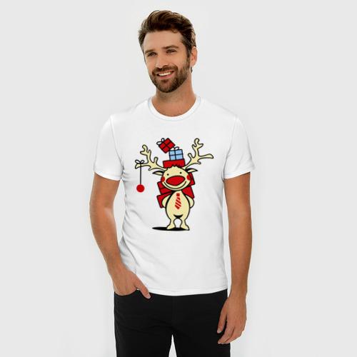 Мужская футболка премиум  Фото 03, Олень с подарками.