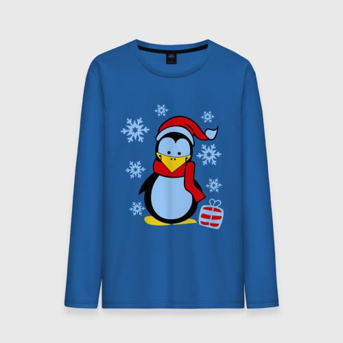 Мужской лонгслив хлопок  Фото 01, Пингвин в новогодней шапке