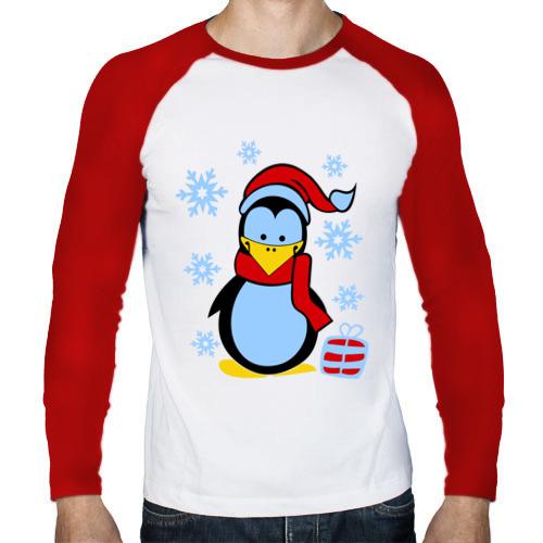 Мужской лонгслив реглан  Фото 01, Пингвин в новогодней шапке