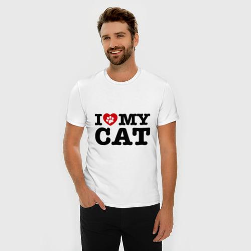 Мужская футболка премиум  Фото 03, I love my cat