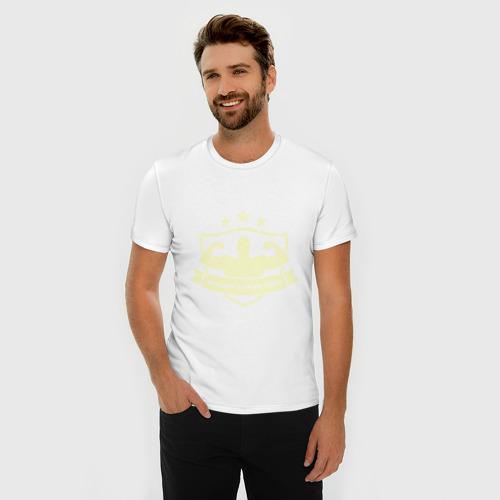 Мужская футболка премиум  Фото 03, Лучший в мире папа (Свет)