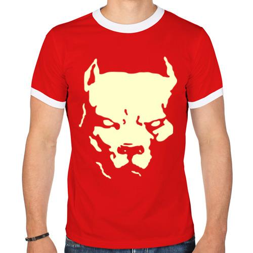 """Мужская футболка-рингер """"Стаффордширский терьер"""" (светящаяся) - 1"""