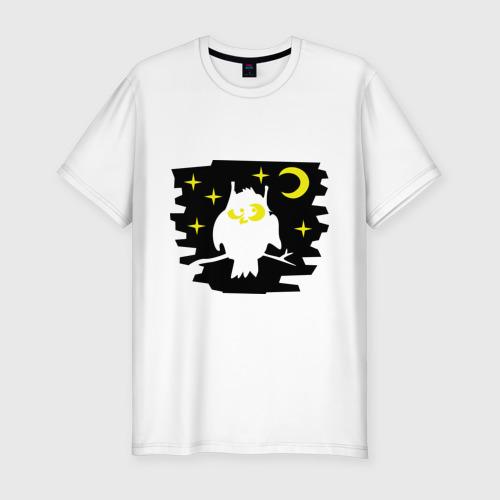 Мужская футболка премиум  Фото 01, Сова в ночном небе