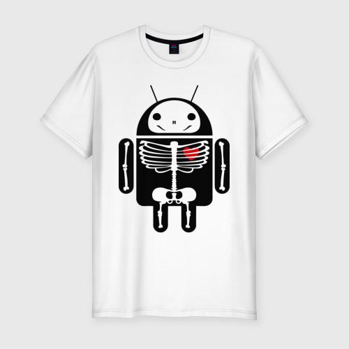 Мужская футболка премиум  Фото 01, Андроид скелет с сердцем