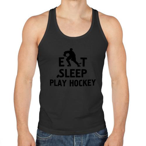 Мужская майка борцовка  Фото 01, Главное в жизни - есть, спать, играть в хоккей