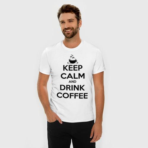 Мужская футболка премиум  Фото 03, Keep calm and drink coffee