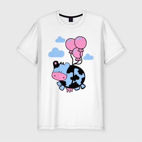 Мужская футболка премиум  Фото 01, Корова с шариками