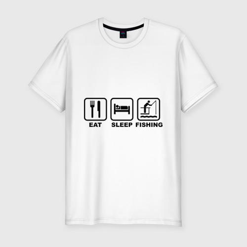 Мужская футболка премиум  Фото 01, Eat Sleep Fishing