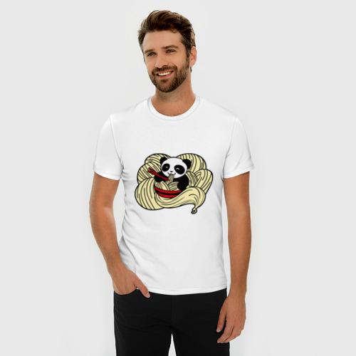 Мужская футболка премиум  Фото 03, панда ест лапшу