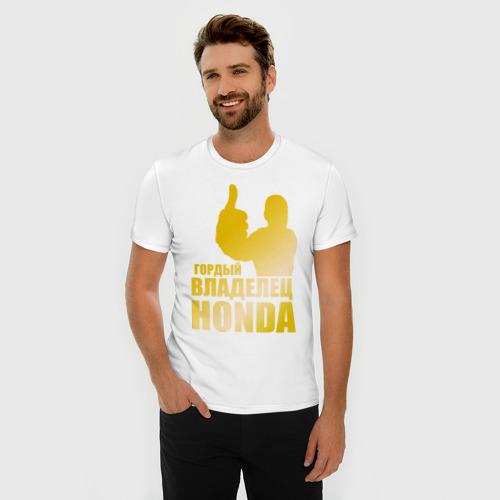 Мужская футболка премиум  Фото 03, Гордый владелец Honda (gold)