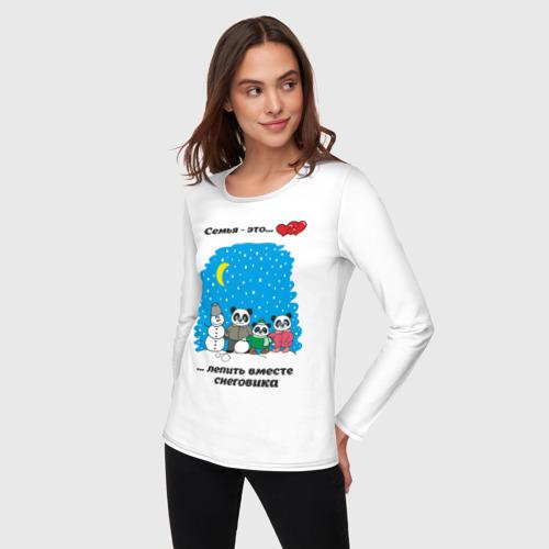 Женский лонгслив хлопок  Фото 03, Семья - это вместе лепить снеговика