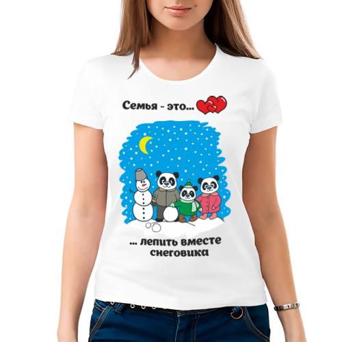 Женская футболка хлопок  Фото 03, Семья - это вместе лепить снеговика