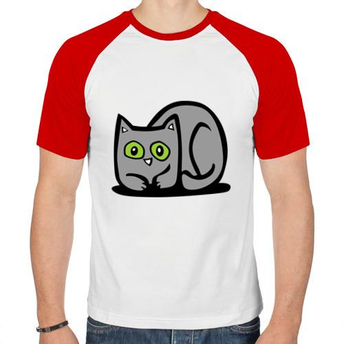 Мужская футболка реглан  Фото 01, серая кошечка