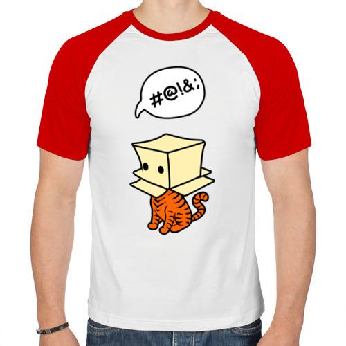 Мужская футболка реглан  Фото 01, кот в коробке