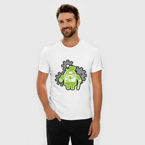 Мужская футболка премиум  Фото 03, андройд джельтельмен
